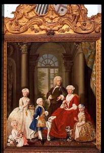 Groepsportret van Georg Wolfgang thoe Schwartzenberg en Hohenlansberg (1691-1739) en zijn familie