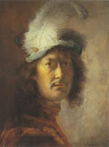 Portret van een man met gevederde baret, mogelijk zelfportret