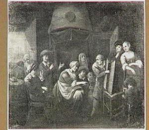 Een marskramer en zijn klanten in een interieur