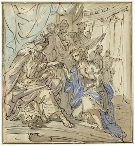 Koning Salomo ontvangt de koningin van Sheba (Koningen I 10: 1-13)