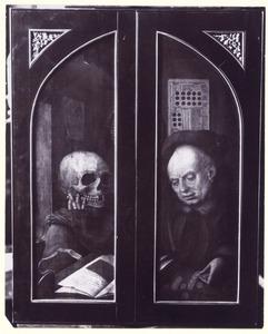 De Dood (linkerluik); Een gierigaard (rechterluik); Op de voorzijde: Schenker met H. Johannes de Doper (linkerluik); Schenkster met H. Lucia ? (rechterluik); Tronende Madonna met H. Bernardus en H. Benedictus (middendeel)