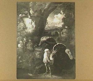 Papegaaien, aapje, haan, pauw en kalkoen bij een tuinvaas, rechts een doorkijk naar een landschap met een obelisk