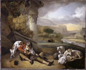 Landschap met een herdersjongen en zijn hondje