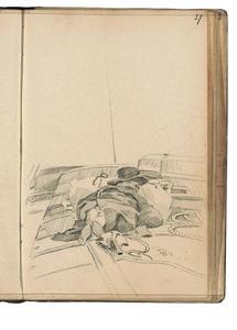 Slapende man op het dek van een boot