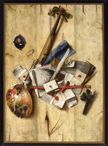 Trompe l'oeil van schoolmeestersviool, schildergerei, brieven en miniatuur zelfportret