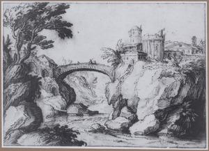 Rotsachtig rivierlandschap met tempel van de Sibylle te Tivoli en graf van de Scipioni bij de Porta San Sebastiano te Rome