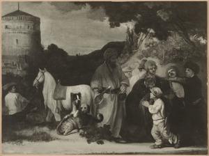 Ongeïdentificeerde scène, mogelijk de zilveren beker in de zak van Benjamin aangetroffen (Genesis 44:11)