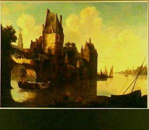 Gezicht op een ommuurde stad vanaf de rivier