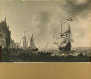 Schepen voor de Oude Hoofdpoort te Rotterdam