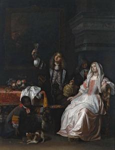 Interieur met een elegant paar, oude vrouw en bediende