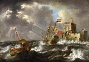 Hollandsche zeilschepen in stormige zee