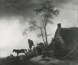 Reizigers rustend bij een boerderij