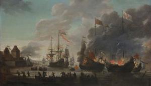 Hollanders steken Engelse schepen in brand tijdens de tocht naar Chatham, 20 juni 1667