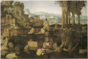 Landschap met Romeinse ruïnes, een archeoloog en de Domus Aurea, het huis van keizer Nero
