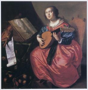 De H. Cecilia spelend op een luit