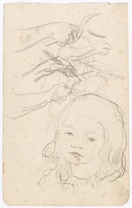 schets naar Sabine Fiedler en losse schetsen van handen,pan en lepel/spatel