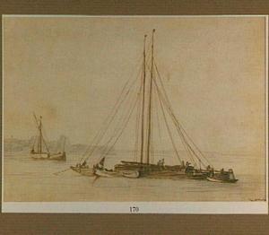 Aak en vissersboten voor de kust