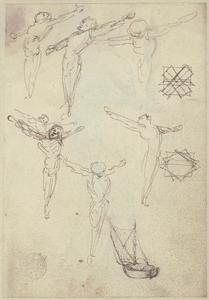Schetsen van een gekruisigde man, een zeilboot en geometrische studies