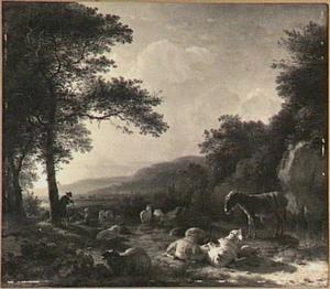 Berglandschap met vee, ezel en herders