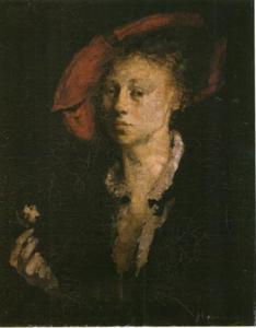 Portret van een vrouw met rode baret