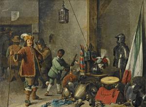 Wachtlokaal met soldaten, een officier en een zwarte knecht bij een stilleven van een zadel, een vaandel, trommels en kurassen.