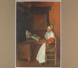 Jonge vrouw naast een bed