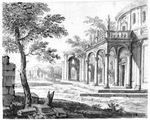Landschap met een gefantaseerde klassieke ruïne