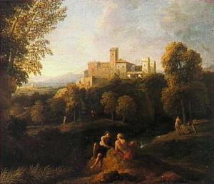 Twee filosofen in een bosrijk heuvellandschap met in de verte een groot kasteel