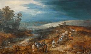 Heuvellandschap met figuren te paard en met huifkar op een weg