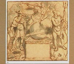 Mercurius, de Faam en Poseidon rond een wereldbol (?) op een voetstuk