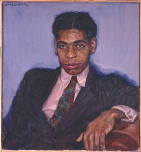 Portret van een donkere man, in pak met stropdas