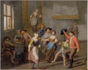 Interieur met dansende boeren