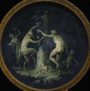 Een sater met nimfen en een putto dansend rond een beeld van Pan