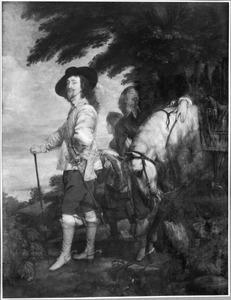 'Karel I op jacht', portret van koning Karel I van Engeland  (1600-1649) met twee pages en zijn paard
