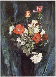 Boeket met rode en witte rozen