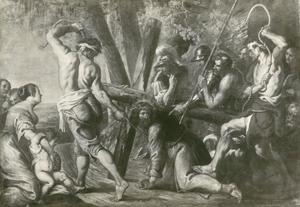 De kruisdraging,, Christus bezwijkt onder het kruis