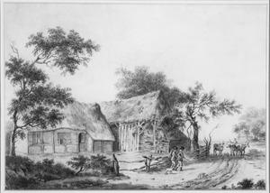 Landschap met boerenstallen en vee