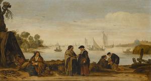 Rivierlandschap met zigeuners