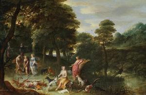 Boslandschap met Diana en haar nimfen na de jacht