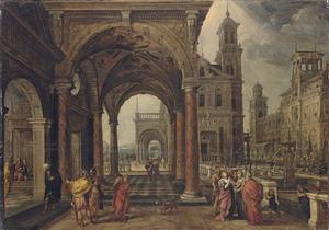Capriccio van een  paleisbinnenplaats met Daniël, die Suzanna´s onschuld bepleit (Daniël 13)