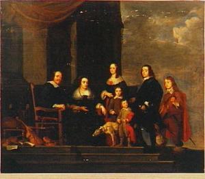 Groepsportret van een onbekend echtpaar met vijf kinderen