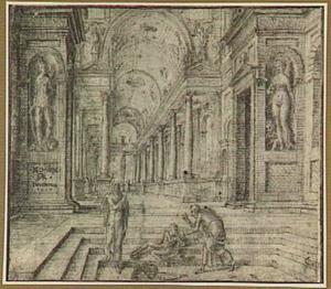 (Kerk-?)interieur met genezing van een lamme door Petrus (?)