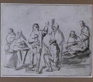 Drinkende en rokende boeren in een herberg
