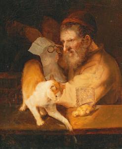 Oude man met kat