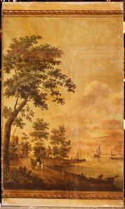 Rivierlandschap met een molen en figuur met paard en wagen