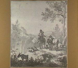 Italianiserend heuvellandschap met ruiter, herder en kudde