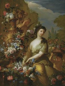 Jonge vrouw temidden van bloemen: allegorie op de herfst