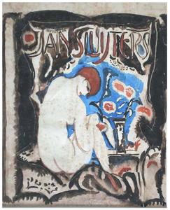 Zittend naakt voor een venster, met opschrift 'Jan Sluijters'