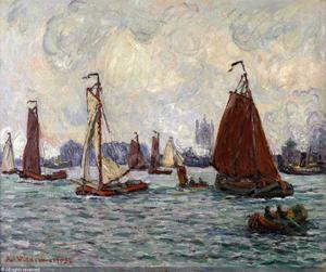 Zeilschepen bij een haven