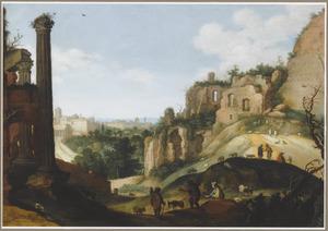 Capriccio van Romeinse ruïnes in een heuvelachtig landschap met herders en vee